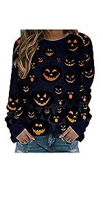 Women's Halloween Casual Long Sleeve Pullover Tops