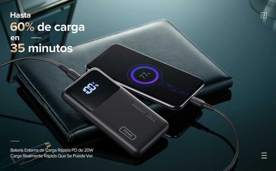 INIU Power Bank, 10500mAh 20W PD3.0 QC4.0 Carga Rápida Bateria Portatil