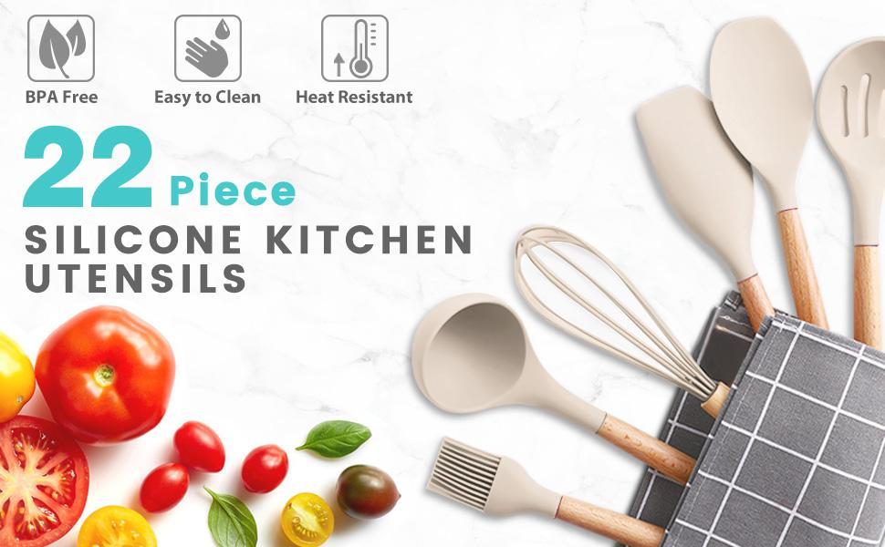 Khaki Silicone kitchen utensils