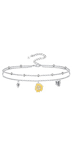 sunflower butterfly anklet