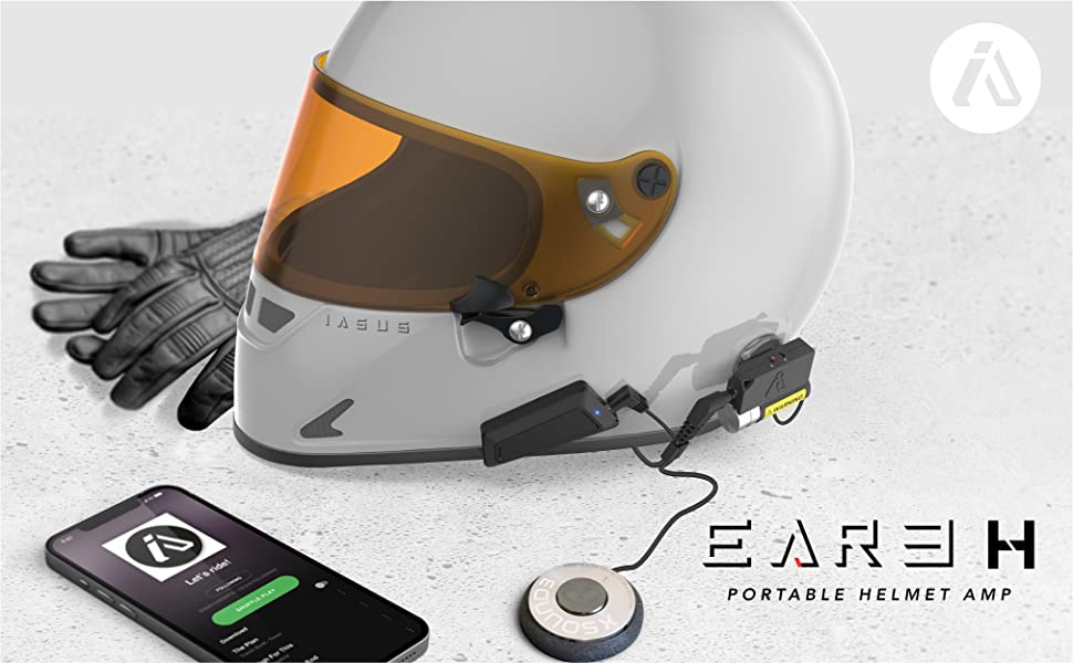 Portable motorcycle amplifier for bluetooth comm systems, smartphones and helmet audio and speakers