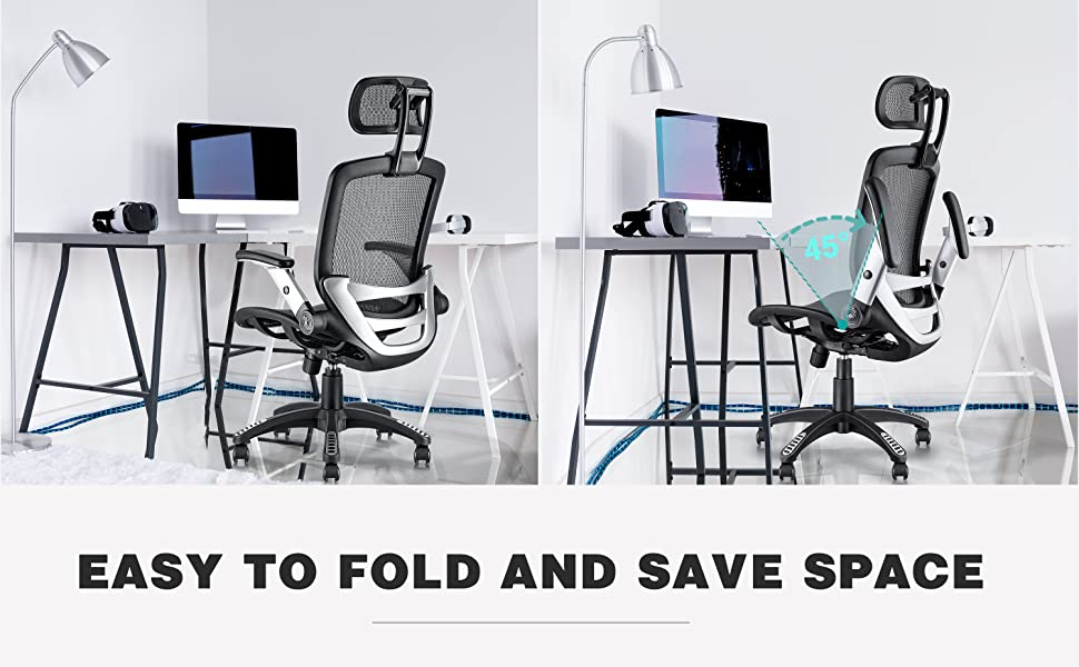 mesh office chair with flip-up arms