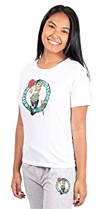 Ultra Game NBA Women's Soft Vintage Distressed Graphics Jersey Tee Shirt