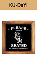 Please Remain Seated Framed Block Sign Rustic