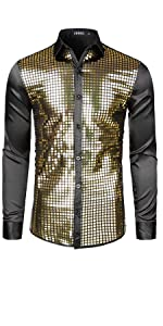 Mens Dress Shirt Silver Sequins Long Sleeve Button Down 70s Disco Shirt Party Costume