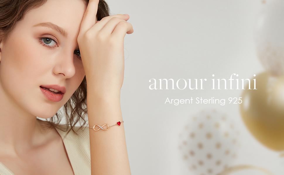 Bracelet Argent 925 Infini, Bracelet d'amour Femme Réglable, Bijoux Femme Cadeau Femme Anniversaire