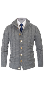 mens twisted cable knit cardigan stand collar button down thick thermal sweater fisherman cardigan