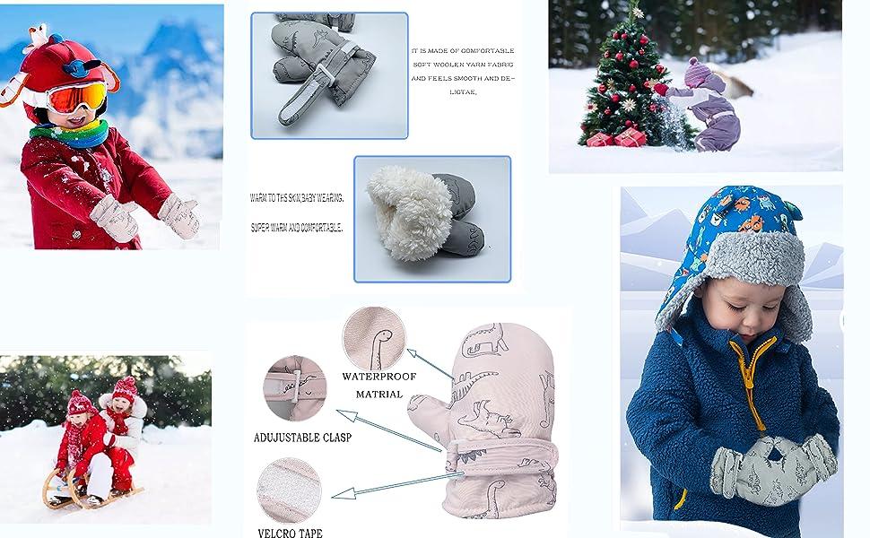 Lined Fleece Toddler Mittens Kids Winter Warm Gloves Child Ski Gloves Waterproof Snow Baby Mitten