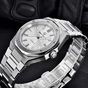 Scratch Resistant Synthetic Sapphire Glass Date Display Waterproof Stainless Steel Bracelet