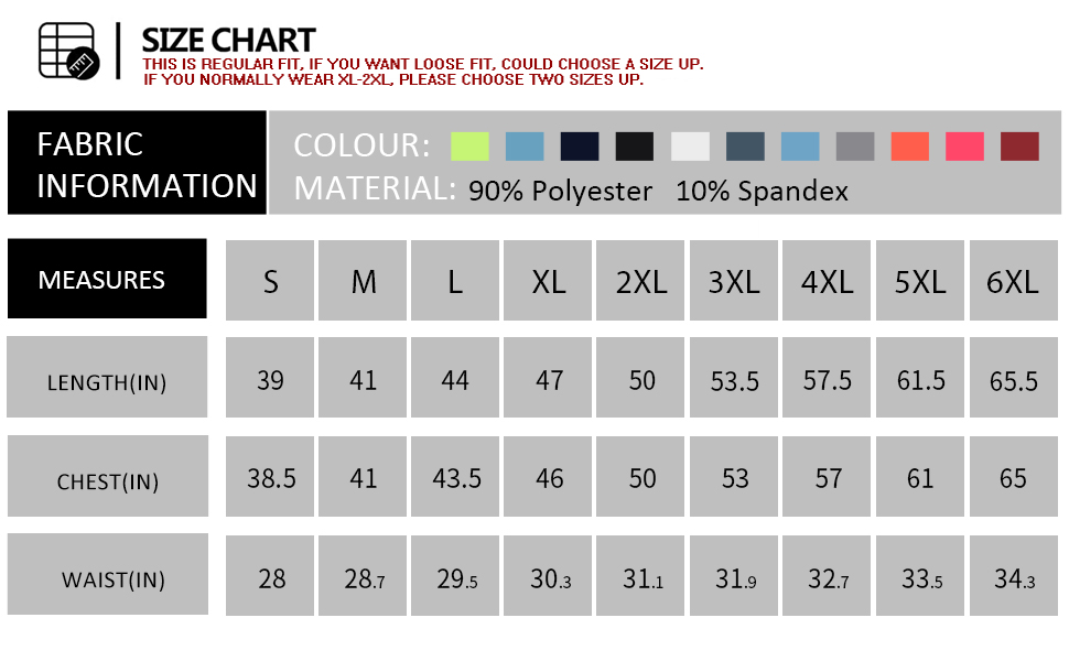 Available In 6 Basic Colors amp; Multiple Choices of Size (Regular to PLUS SIZE)