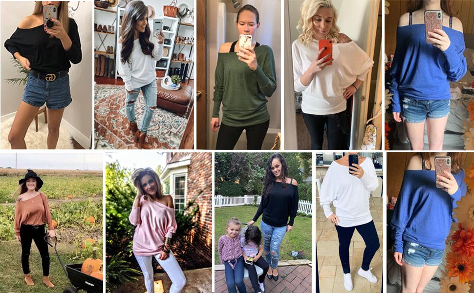 Women's Off Shoulder Tops Casual Loose Shirt Batwing Sleeve Tunics Blouse Sweatshirt