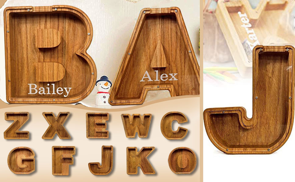 Wooden Piggy Bank Personalized Letters Coin Bank Piggy Bank