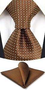 Brown Copper Dot Mens Tie Set