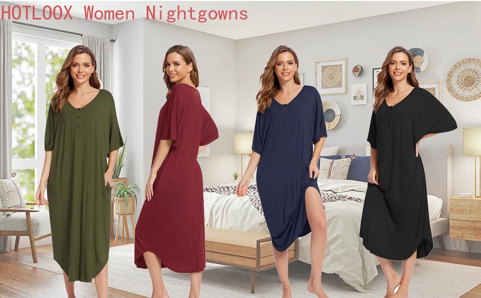 women oversizeed long nightgowm
