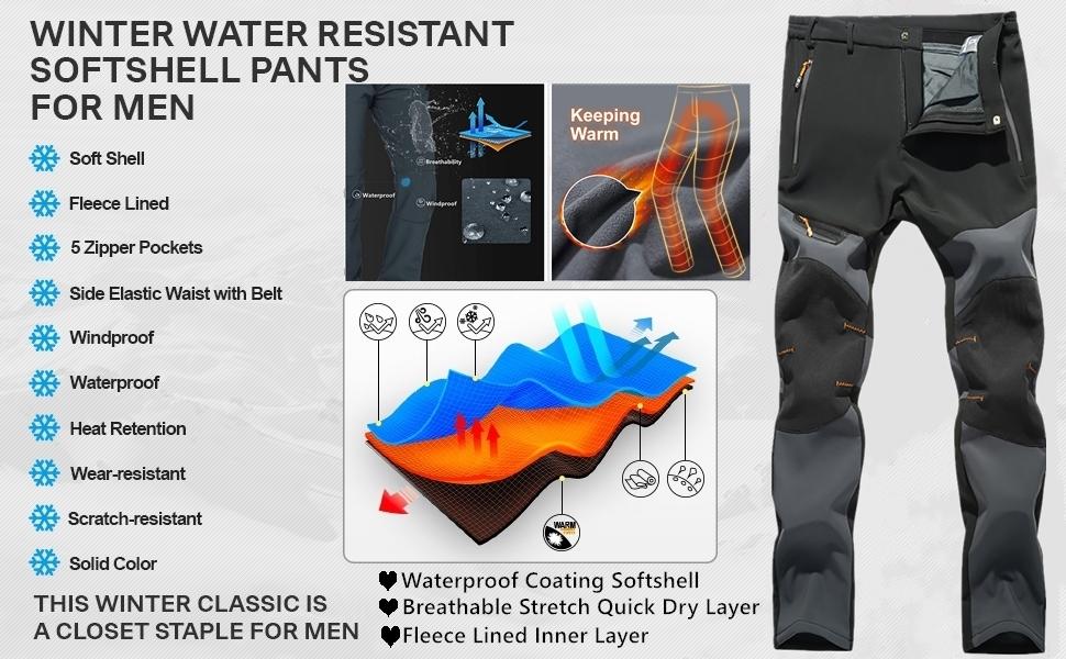Men's Hiking Snow Pants Skiing Winter Insulated Fleece Lined Water Repellent Walking Fishing