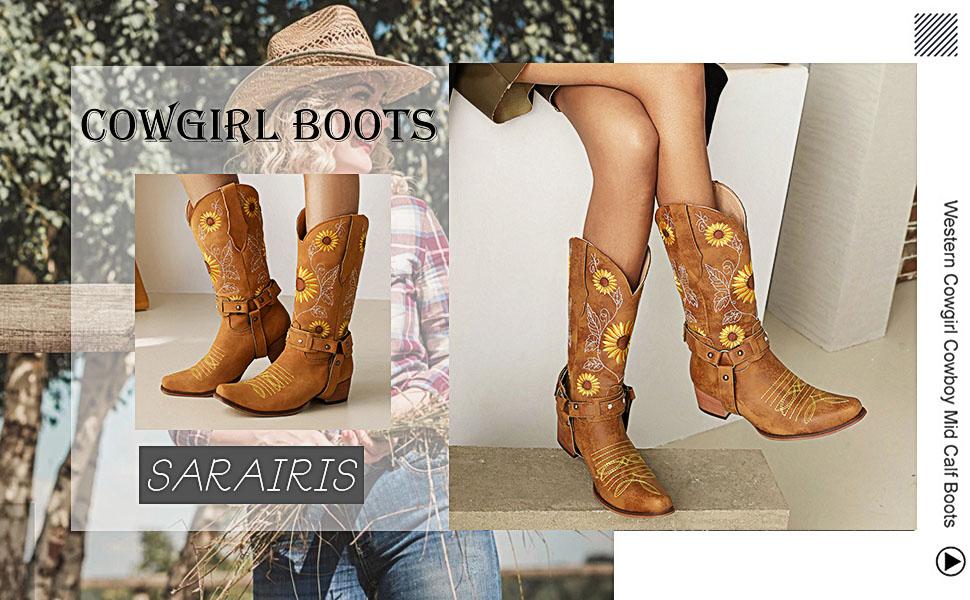 sun flower knee high boots cowboy boots for women