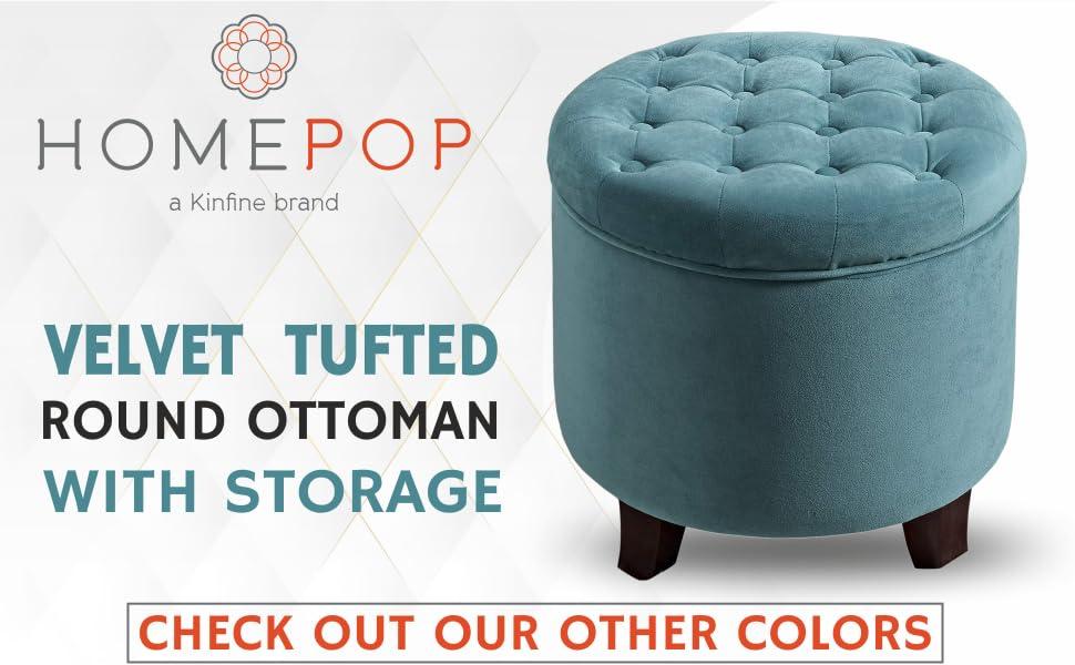 Homepop, Homepop Velvet Tufted Round Ottoman with storage