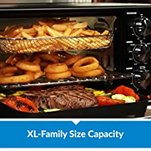 power xl air fryer grill stacked with food