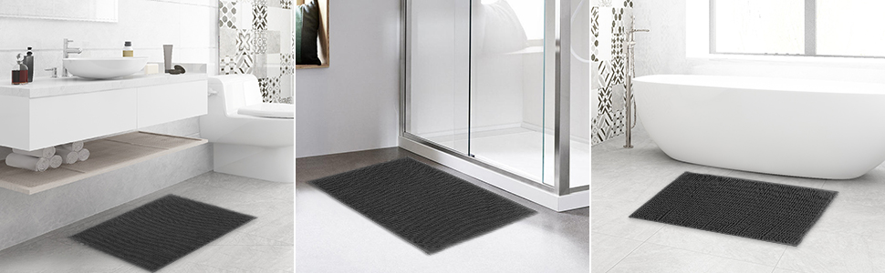 SHIMAKYO chenille bathroom rug for sink tub and shower room