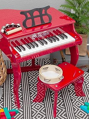 Schoenhut Red 30 Key Baby Grand Piano
