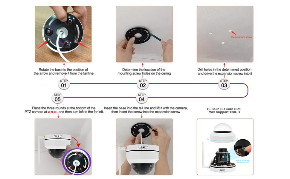 Installation Celling Mount of PTZ Dome Camera