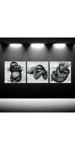 sloth canvas, canvas art print posters, nursery poster Black and White Portrait Framed