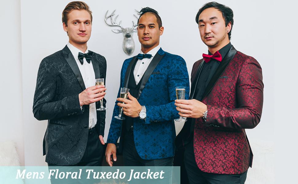 COOFANDY Mens Floral Tuxedo Jacket Paisley Shawl Lapel Suit Blazer Jacket for Dinner,Prom,Wedding