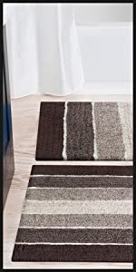 Set of two brown bath rugs with a bath tub and sink