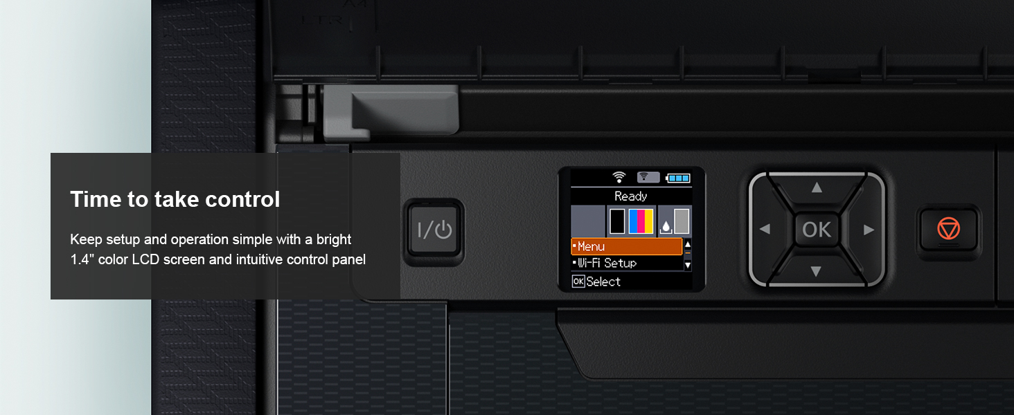 """Keep setup and operation simple with a bright 1.4"""" color LCD screen and intuitive control panel"""
