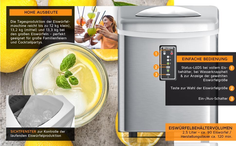 Machine à glaçons en acier inoxydable 150 W – Bac à glaçons 3,4 litres – 9 grands glaçons en 11 minutes