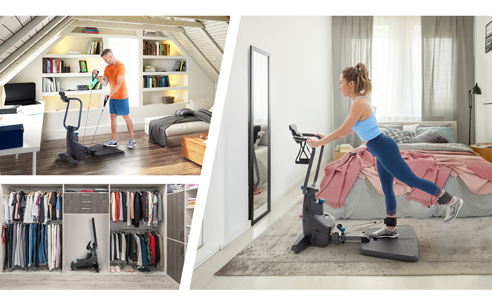 Woman exercising in bedroom and FitForm stored in closet