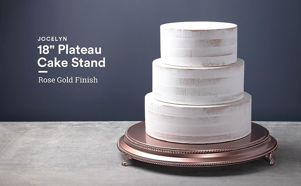 Amalfi Decor 18-Inch Plateau Round Cake Stand Metal Rose Gold Finish
