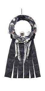 Halloween Door Wreath with Skeleton