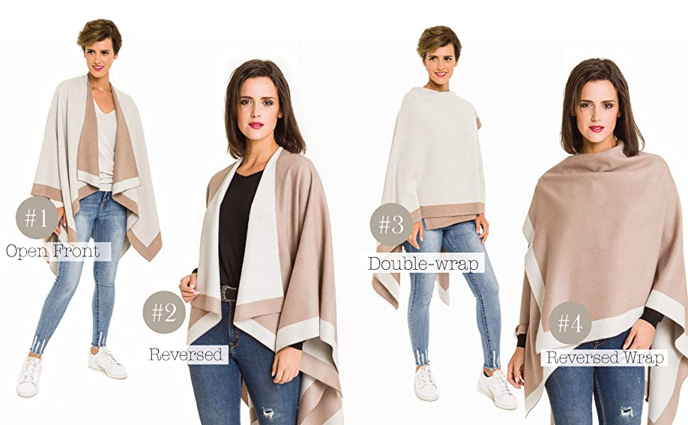 Womenamp;#39;s Shawl Wrap Poncho Ruana Cape Cardigan Sweater Open Front