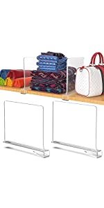 2PACK Acrylic Shelf Dividers for Home Bedroom Shelf Storage Removable No Install
