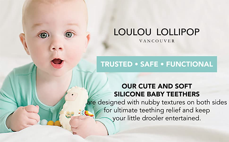 Loulou lollipop silicone teether cute baby teether sooth and message sore gums