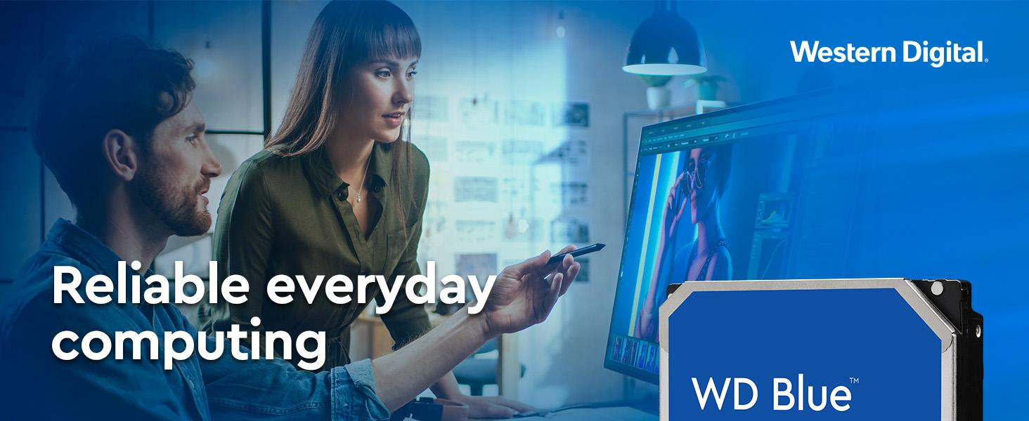 Western Digital Reliable Everyday Computing.  Two content creators editing a photo on a desktop.
