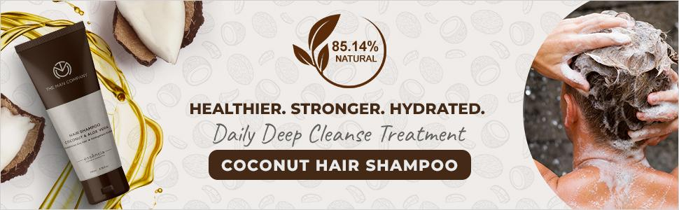 Coconut Hair Shampoo deep cleanse healthy smooth damaged thick growth