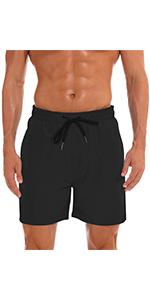 Black swim trunks for men 7amp;#34; inseam
