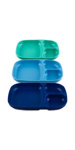 aqua navy sky blue  part divided tray