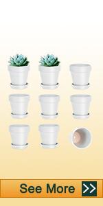9pcs 3 inch white clay pots