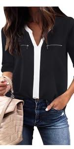 women v neck chiffon 3 4 sleeve cuffed sleeve tunic work office business blouses shirt