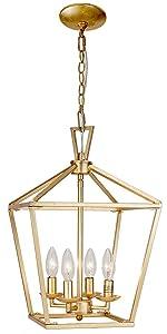 4-light gold pendant lantern light