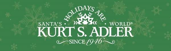 Kurt Adler logo on green background with snowflakes