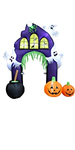 9 Foot Tall Halloween Inflatable Castle Archway with Pumpkins Spider Ghosts Cauldron