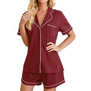 Sleepwear Short Sleeve Satin Sleeping Wear Silk Pajama Set Sleep Shorts Set Nightgown