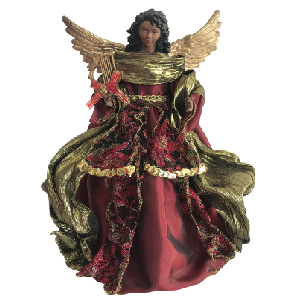 16 inch African American Christmas Angel Tree Topper