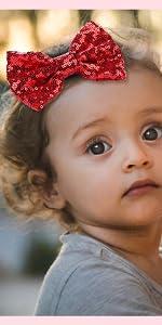 Glitter Sequins Hair Bow Clips for Toddler Girls