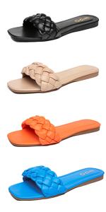 square open toe flats sandals