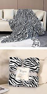black white zebra printed blanket fluffy fuzzy bed throw blanket